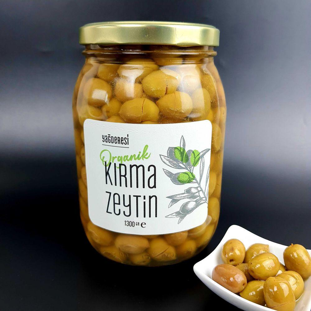 Organik  Kırma Zeytin 1500 CC Cam Kavanoz
